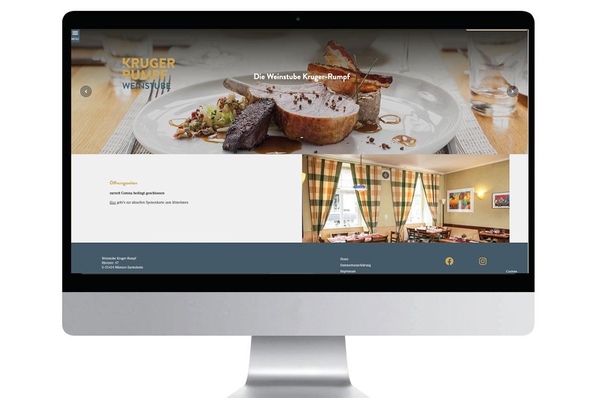 Webseite Weinstube Kruger-Rumpf